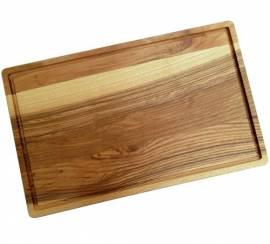 Tranchierbrett Kern-Esche 40 x 25 x 2 cm geölt, Holz Schneidebrett mit Saftrille - Bild vergrößern