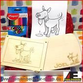 Geschenke-Box Ahorn Frühstücksbrett Hund Nr. 1