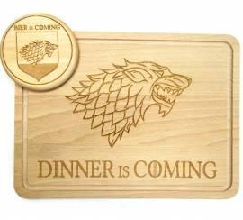 Dinner is Coming Holz-Schneidebrett mit Rille Motiv Wolf - Bild vergrößern