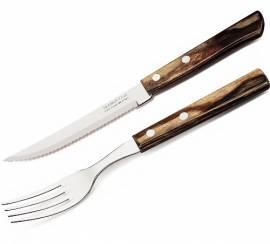 TRAMONTINA Pizzabesteck-Set 12 tlg. -  Steakbesteck Messer und Gabel mit Holzgriff braun - Bild vergrößern