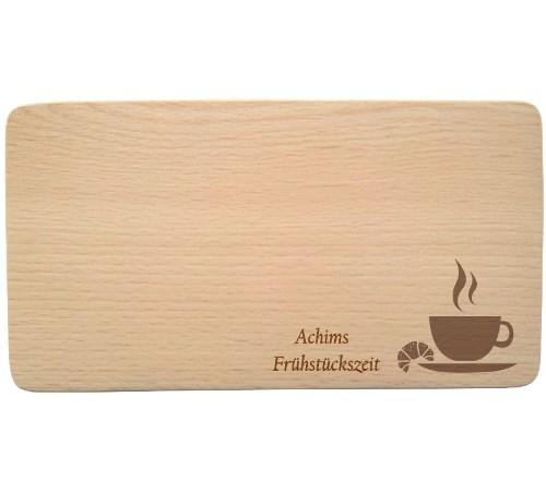 Buchenholz Frühstücksbrettchen mit Namen - Gravur Frühstückszeit