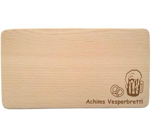 Buchenholz Brotzeitbrettchen mit Namen - Gravur Vesperbrettl