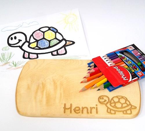 Ahorn Kinder Frühstücksbrett Schildkröte Kind mit Namen