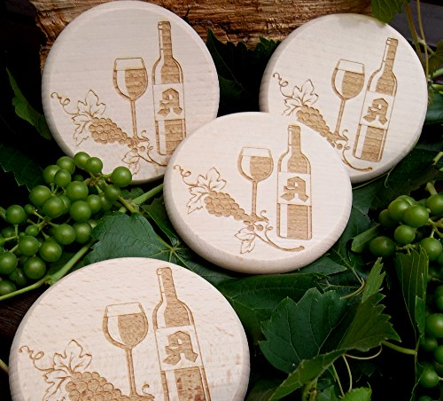 Holz Weinglas Deckel D 10 cm mit Motiv Gravur Weinranke