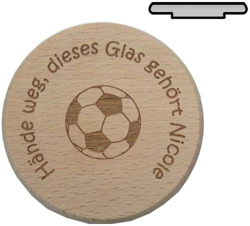 Holz Bierglasdeckel D 10 cm - Fußball Gravur mit Wunschname