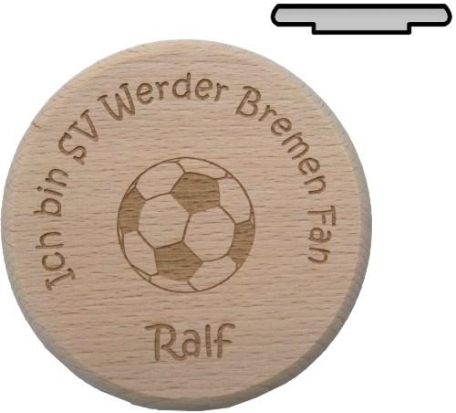 Holz Bierglasdeckel D 10 cm - Fußballverein Gravur mit Wunschname