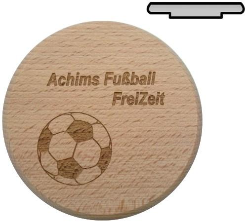 Holz Bierglasdeckel D 10 cm - Fußball Freizeit mit Name gelasert