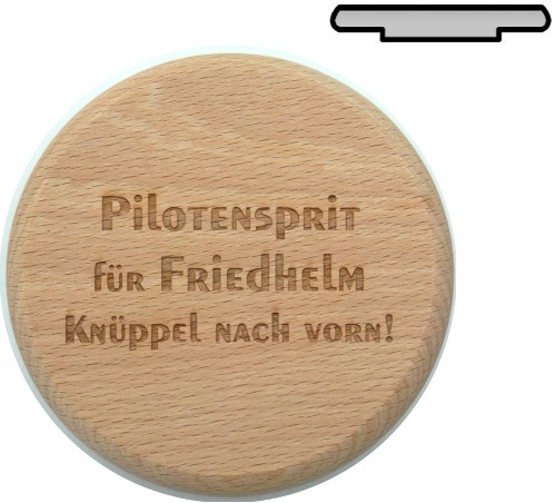 personalisierte geschenke holz bierglasdeckel 10 cm pilotensprit gravur wunschname. Black Bedroom Furniture Sets. Home Design Ideas