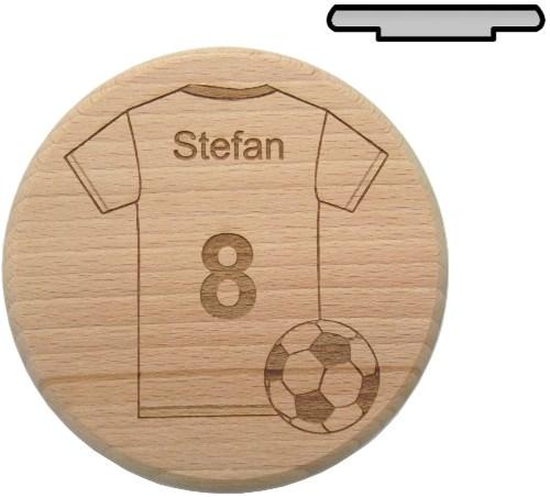 Holz Bierglasdeckel D 10 cm - Fußball Trikot Gravur mit Wunschname