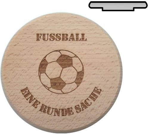 Holz Bierglasdeckel D 10 cm - mit Gravur Motiv Fußball