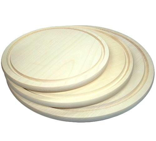 Holzteller rund Ahorn D 30 cm, Pizzateller mit Saftrille