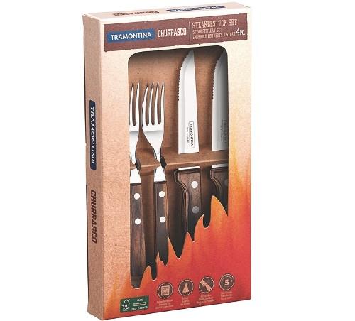 TRAMONTINA Gaucho-Steakbesteck 4-tlg. mit Holzgriff braun