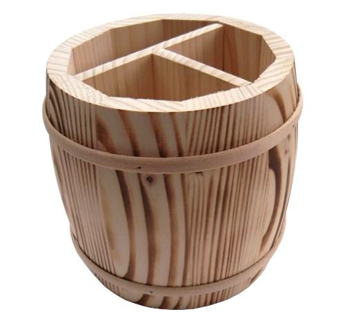 Besteckbehälter Fass aus Holz - Besteckfass geflammt 3 geteilt