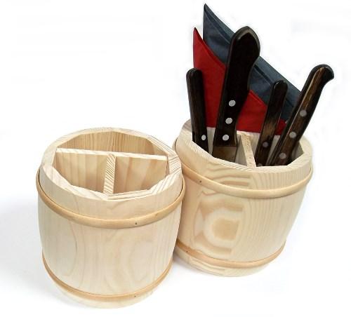 Besteckbehälter Fass aus Holz - Besteckfass natur 3 geteilt