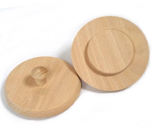 Holzdeckel Buche 10 cm, Holz Bierglasdeckel mit Griffknopf