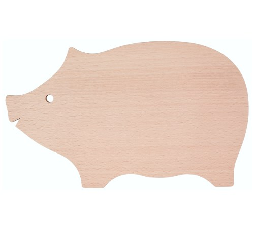 Servierbrett Motiv Schwein ohne Saftrille 30 x 18 x 1 cm Buche natur oder geölt