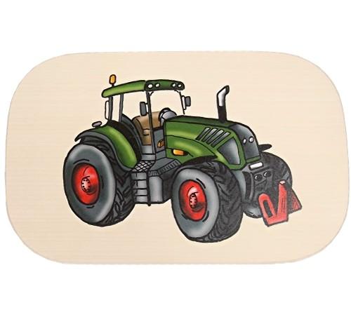 Bunte Kinder Frühstücksbrettchen Motiv grüner Traktor