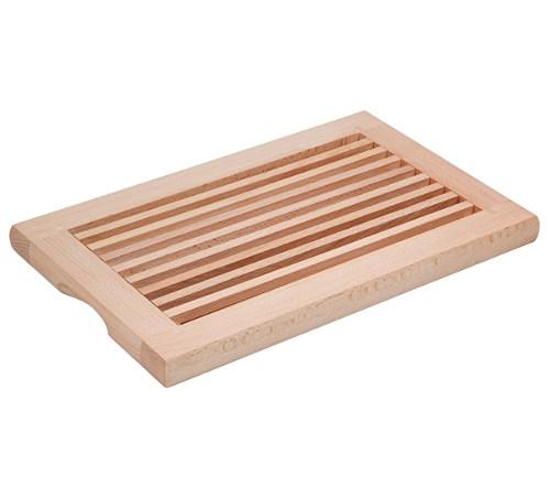Brot-Schneidebrett Buche 40 x 25,5 x 2,7 cm mit Schneiderost und Krümelfach geölt