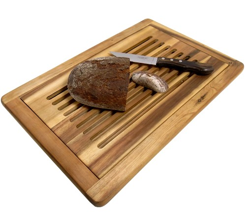 Brot-Schneidebrett Akazie 47,5 x 32 x 2 cm mit Schneiderost und Krümelfach