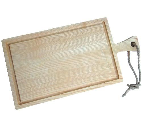 Tranchierbrett / Schneidebrett mit Griff Esche 40 x 20 x 2 cm