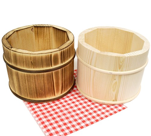Besteckbehälter Topf aus Holz - Tischmülleimer natur o. geflammt