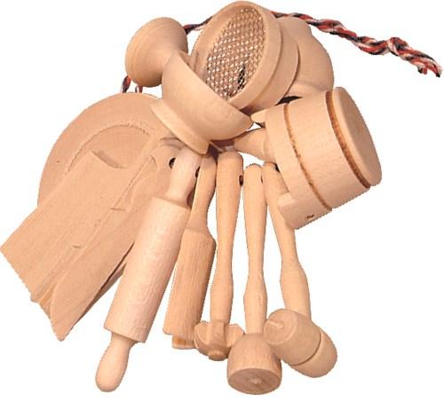 Holz Küchenminiaturen - 15 mini Spielzeug Küchenhelfer