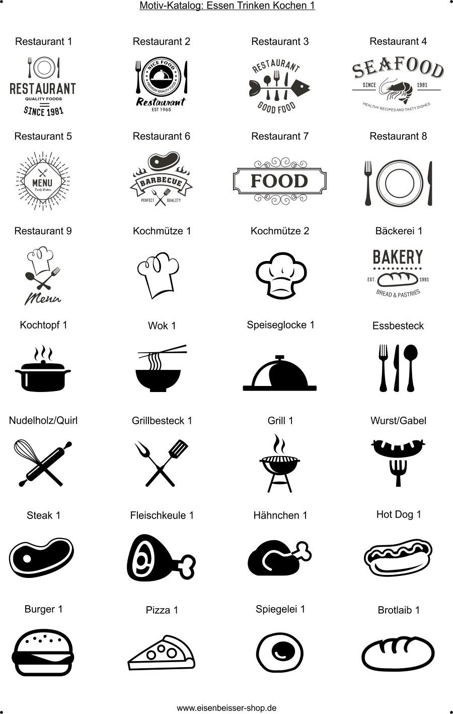 Lasergravur Grafik - Motiv Essen Trinken Kochen