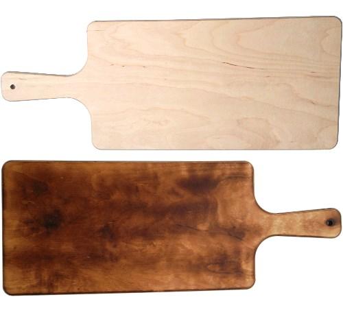 Pita Pizzabrett 38 x 20 cm | Pide Servierbrett mit Griff 52 cm