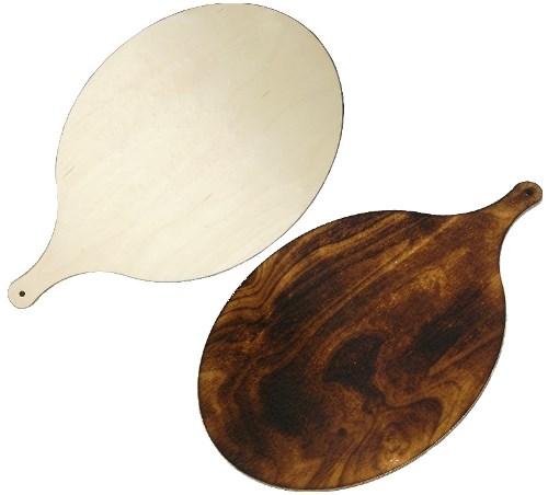 Holz Pizzabrett oval 38 x 30 cm - Flammkuchenbrett mit Griff 50 cm