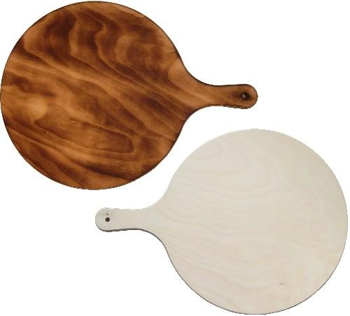 Holz Pizzabrett rund D 36 x H 0,9 cm | Flammkuchenbrett mit Griff 47 cm