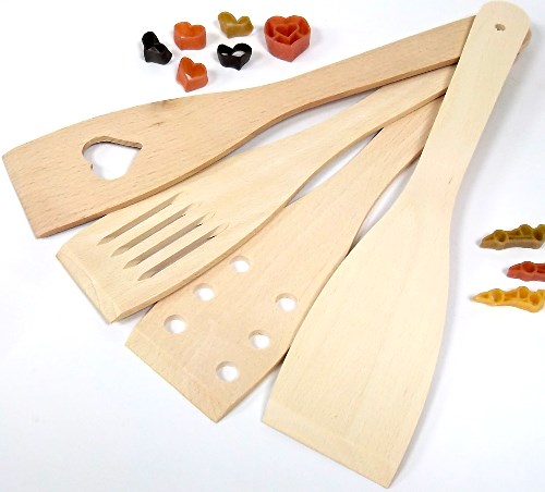 30 cm Pfannenwender; mit Herz aus Holz