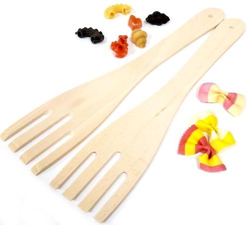 Pfannenwender Gabel - Holzwender 30 cm aus Buche