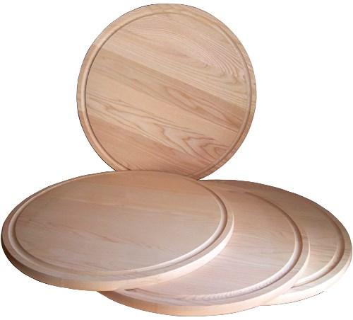 Holzteller rund Esche D 44 cm, Pizzateller XL mit Saftrille