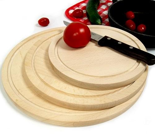 Holzteller Set 3 tlg. D 20/25/30 cm Buche, runde Schneidbretter mit Saftrille