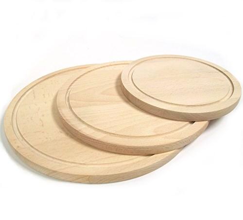 Holzteller rund Buche D 30 cm, Pizzateller L mit Saftrille