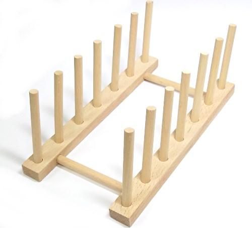 Holz Tellerständer für 6 Teller - Brettchenhalter FSC® Buche natur