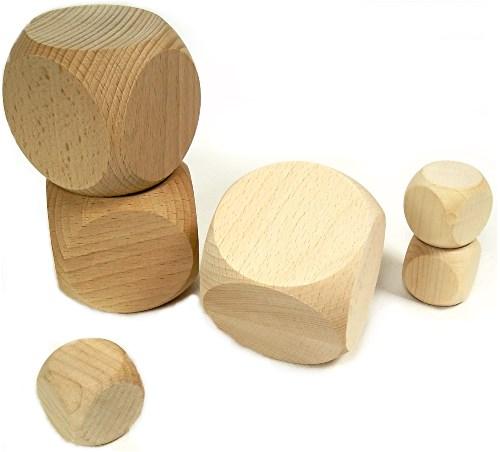 Blanko Holz-Würfel 6 cm - Spiel-Würfel ohne Augenzahlen